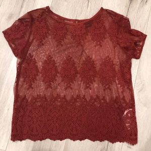 Never worn short sleeve lace blouse